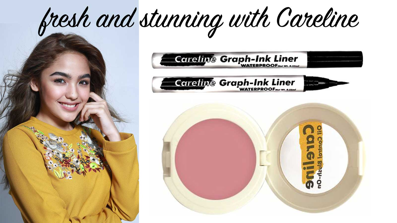 Look fresh and stunning with Careline Graph-Ink Liner and Oil Control Blush-On