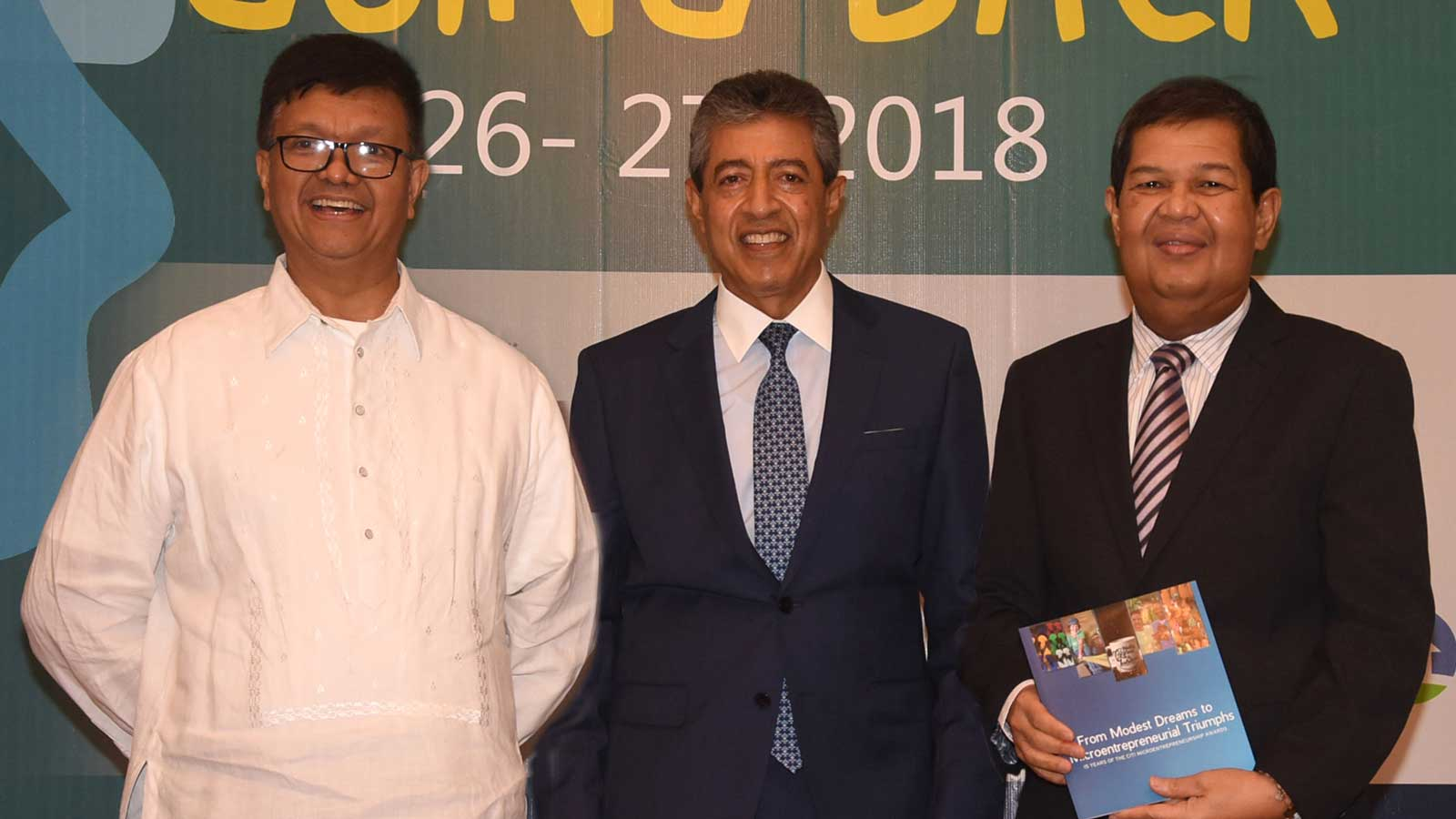 (L-R) Microfinance Council of the Philippines, Inc. chair Fr. Jose Victor Lobrigo; Citi Philippines CEO Aftab Ahmed and Bangko Sentral ng Pilipinas governor Nestor Espenilla, Jr.